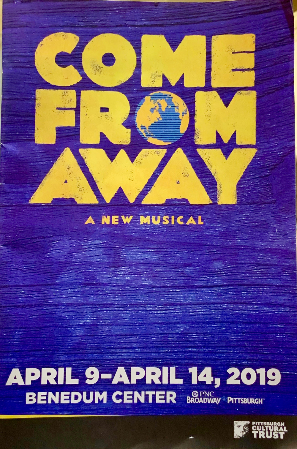 the program from the traveling Broadway musical Come From Away at the Benedum Center in Pittsburgh