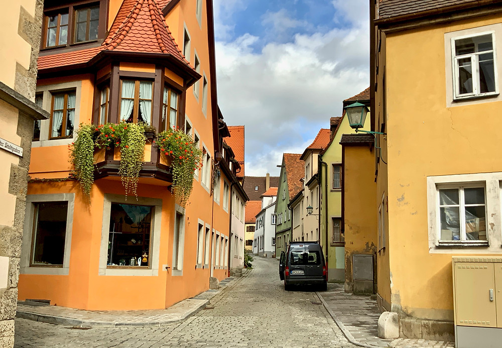 side street in the pretty Rothenburg ob der Tauber in Bavaria Germany