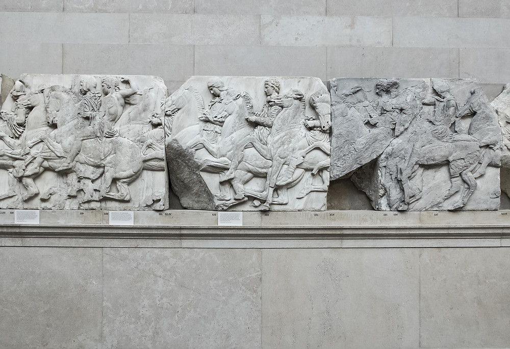 Section of a frieze from the Elgin Marbles or Parthenon Marbles, inside the British Museum in London