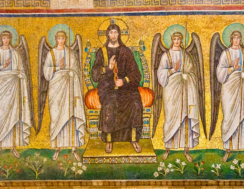 a mosaic of Jesus, now bearded