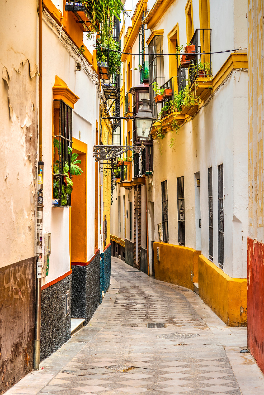 a colorful lane in Barrio Santa Cruz