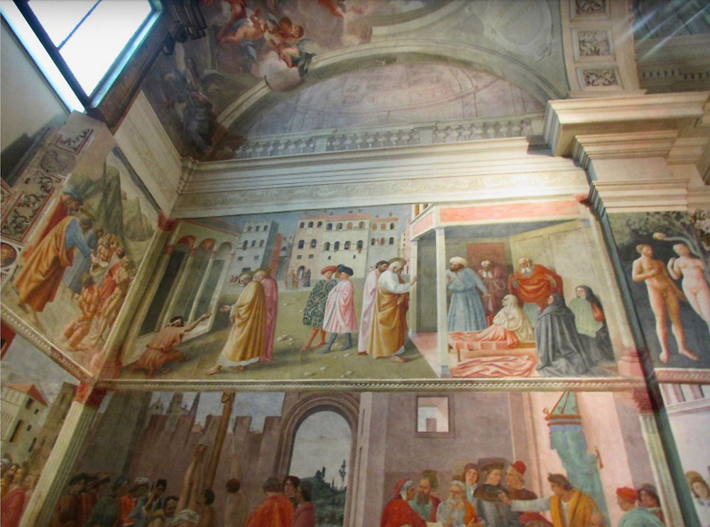 Masaccio frescos in the Brancacci Chapel, a must see site in Florence