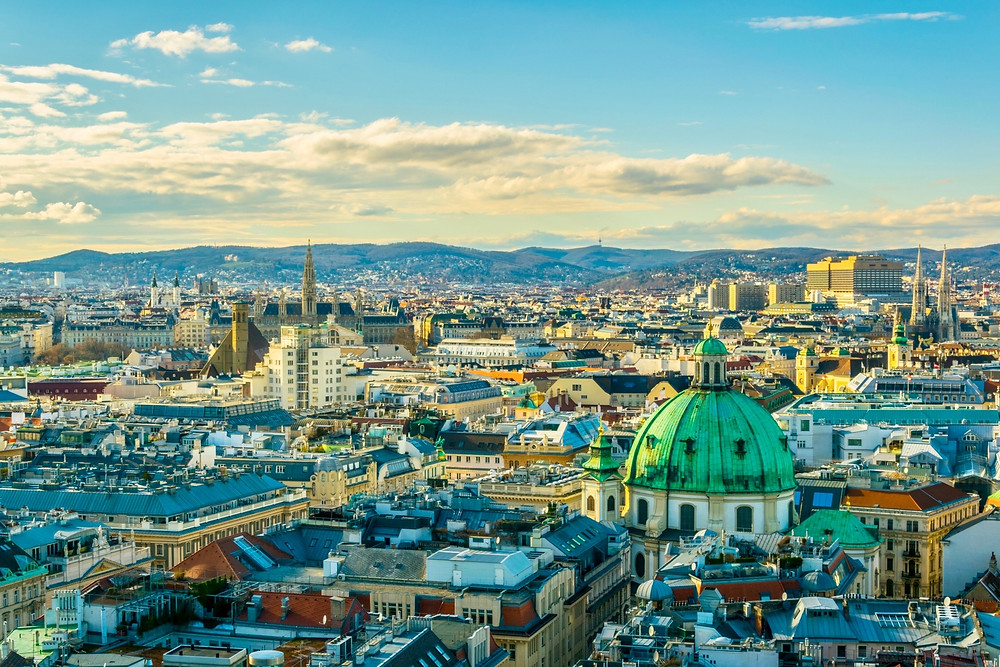 view of Vienna from the tower of St. Stephen's Cathedral