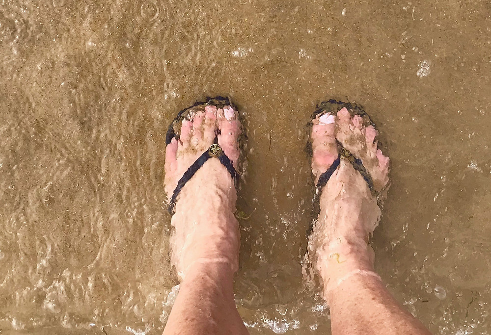 standing in the water at Laredo beach