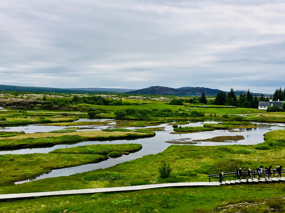 walking the gorge in Thingvellir National Park