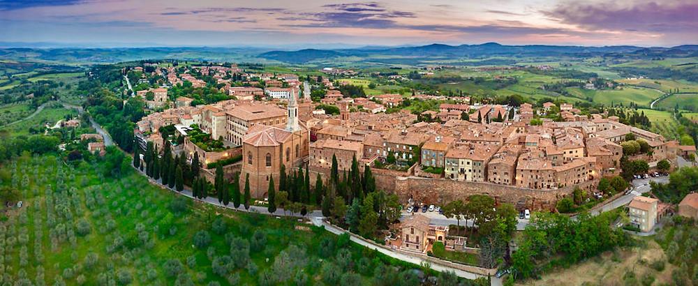 aerial view of pretty Pienza
