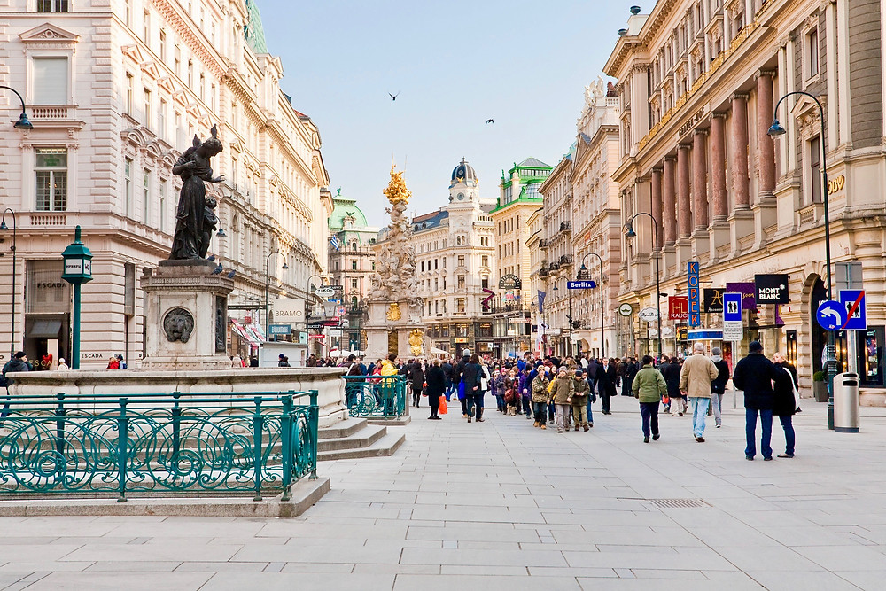the Plague Column on Graben Street in the old town of Vienna