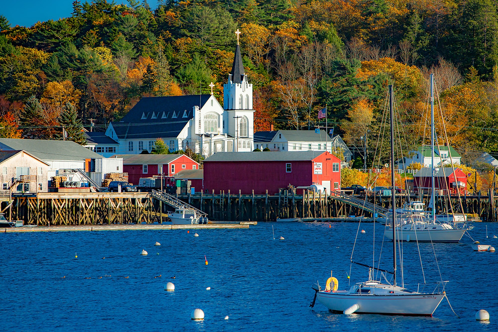 Our Lady Queen of Peace catholic church on the shore of Boothbay Harbor Maine