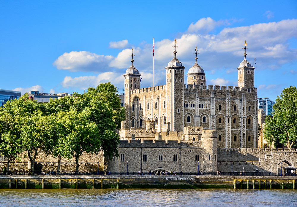The moat surrounding the Tower of London