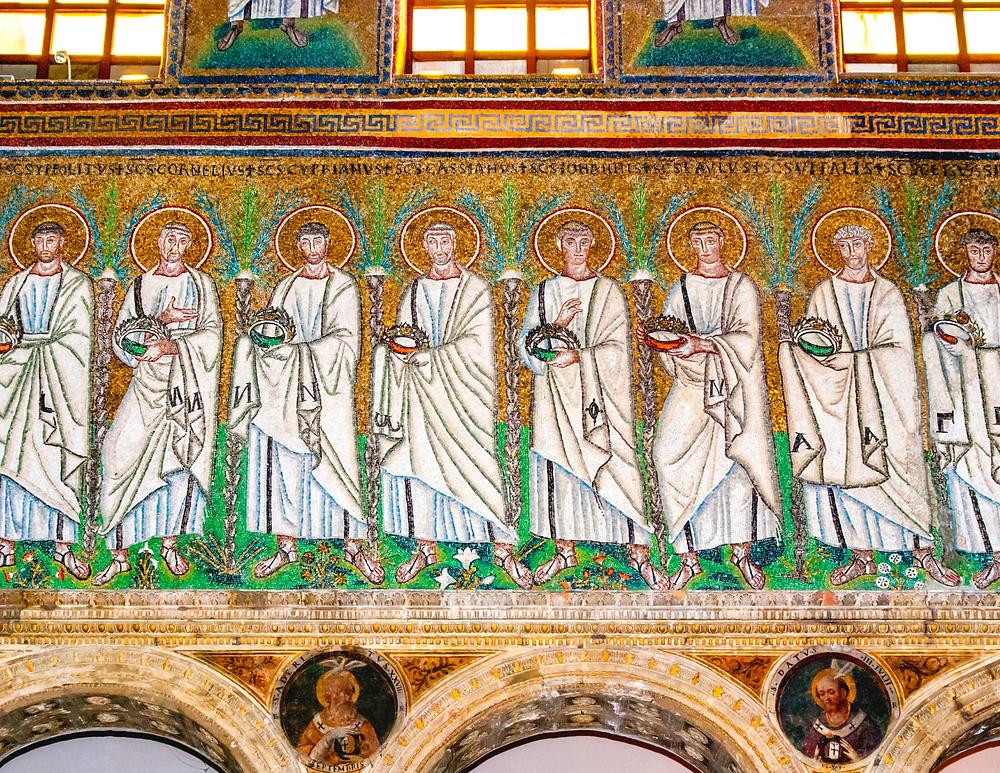 mosaics running along one of the walls