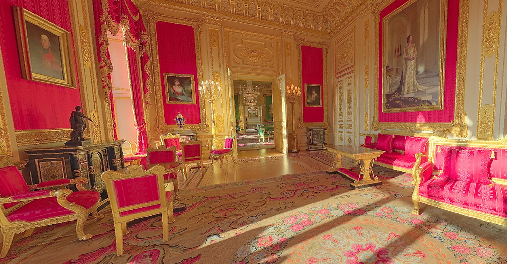 the Crimson Room in Windsor Castle
