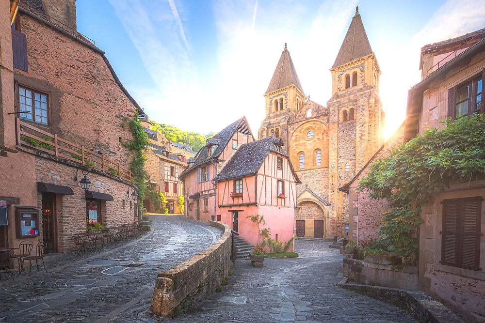 quaint and charming medieval old town centre of the medieval French village Conques