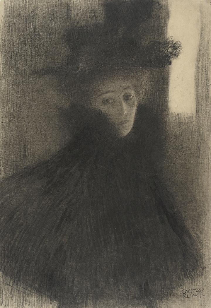 Gustav Klimt, Portrait of a woman with cape and hat in a three-quarter profile, 1897−98