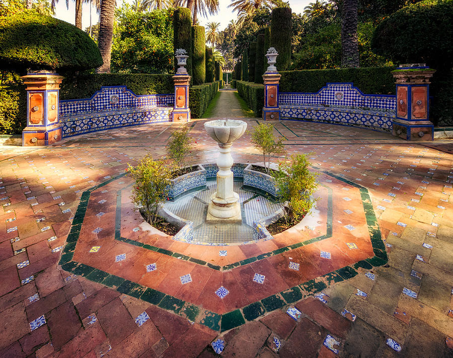 a fountain in the Garden of Poets in the Alcazar