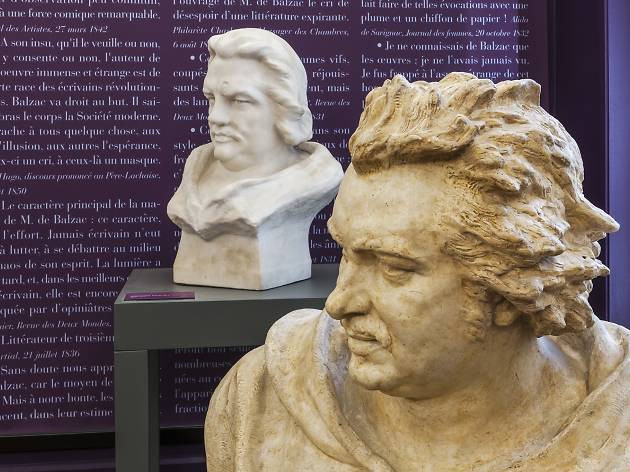 """a bust of Balzac along with with a """"family tree"""" of his characters that extends across several walls"""