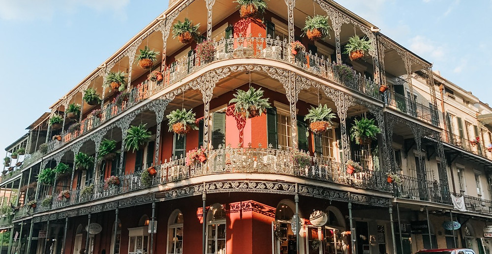the beautiful wrought iron LaBranche House on Royal Street  in New Orleans