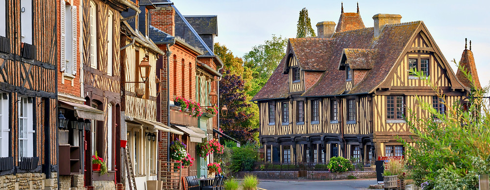 the beautiful village of Beuvron-en-Auge in Normandy