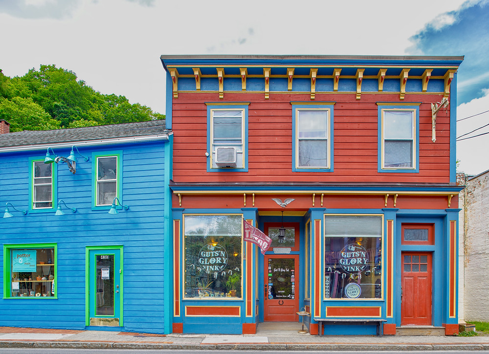 colorful building on the Main Street In Woodstock