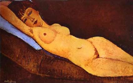 Amedeo Modigliani. Reclining Nude with Blue Cushion (1917) -- purchased for $118 million in 2012