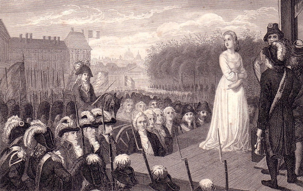 Marie Antoinette before her execution, steel engraving around 1850. image source: Wikipedia, private collection of Henryart