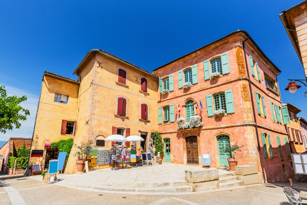 Plaza St. Marie in Roussillon, a beautiful town in the Luberon Valley in Provence