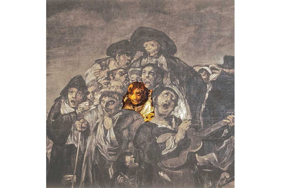 Detail of Goya's The Pilgrimage of San Isidro with Napoleon highlighted. Image source: artily.com