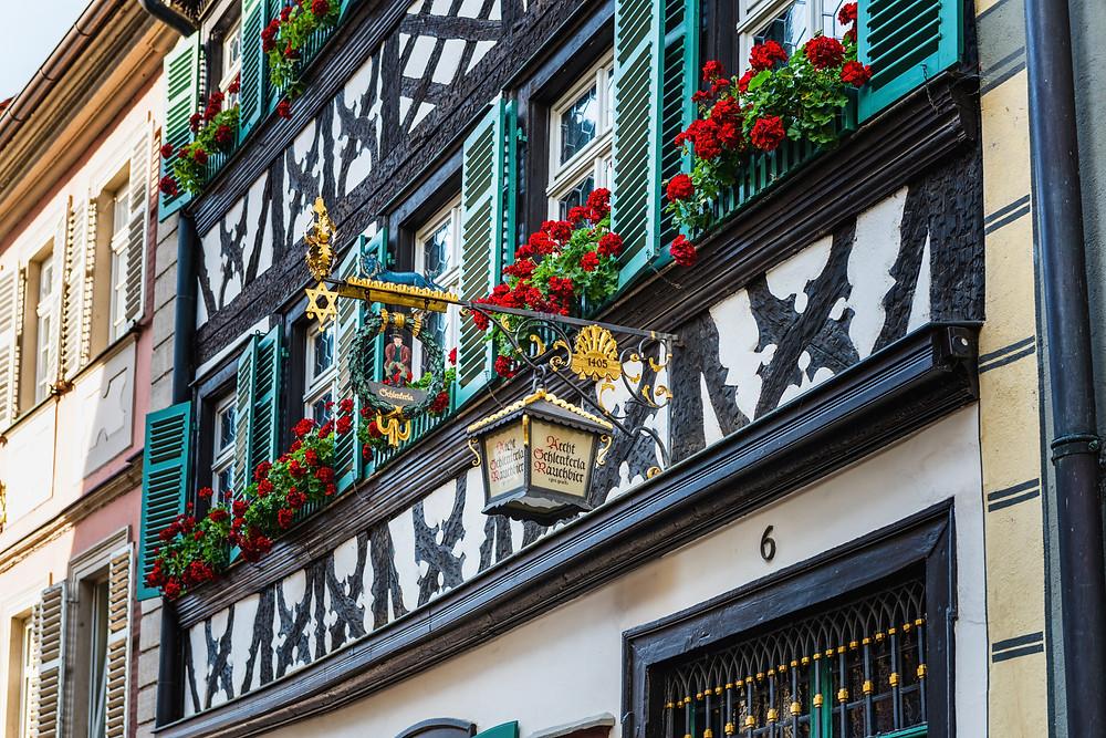 Facade of the Schlenkerla brewery in Bamberg