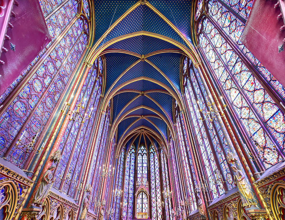 gorgeous stained glass in Sainte-Chapelle