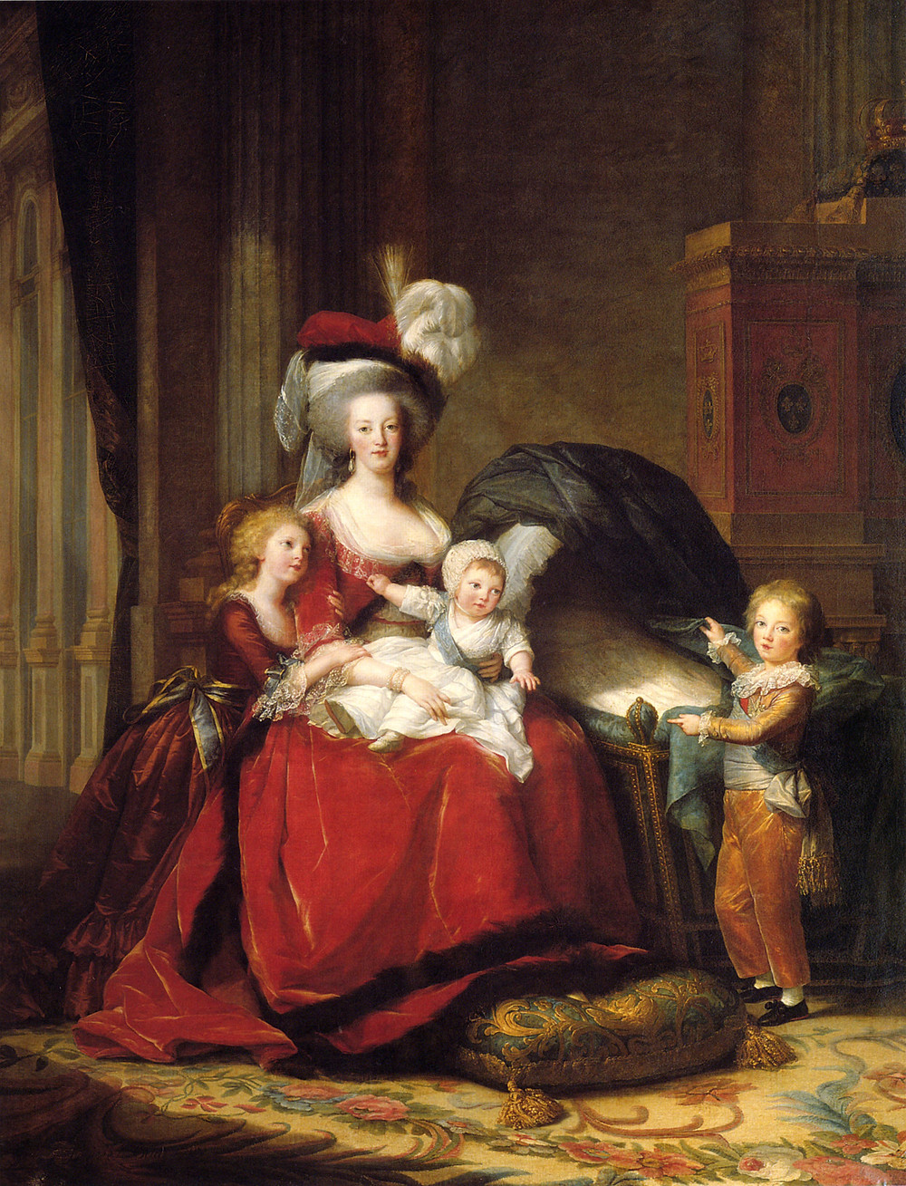 Marie Antoinette and her Children, 1787 -- Marie Antoinette had this painting commissioned to counteract the bad publicity from the pamphleteers in the early years. The slander got much worse after 1789.