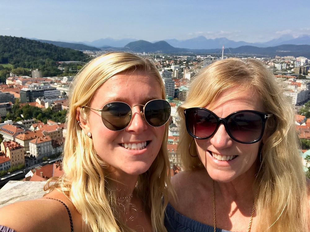 my daughter and I atop Ljubljana Castle