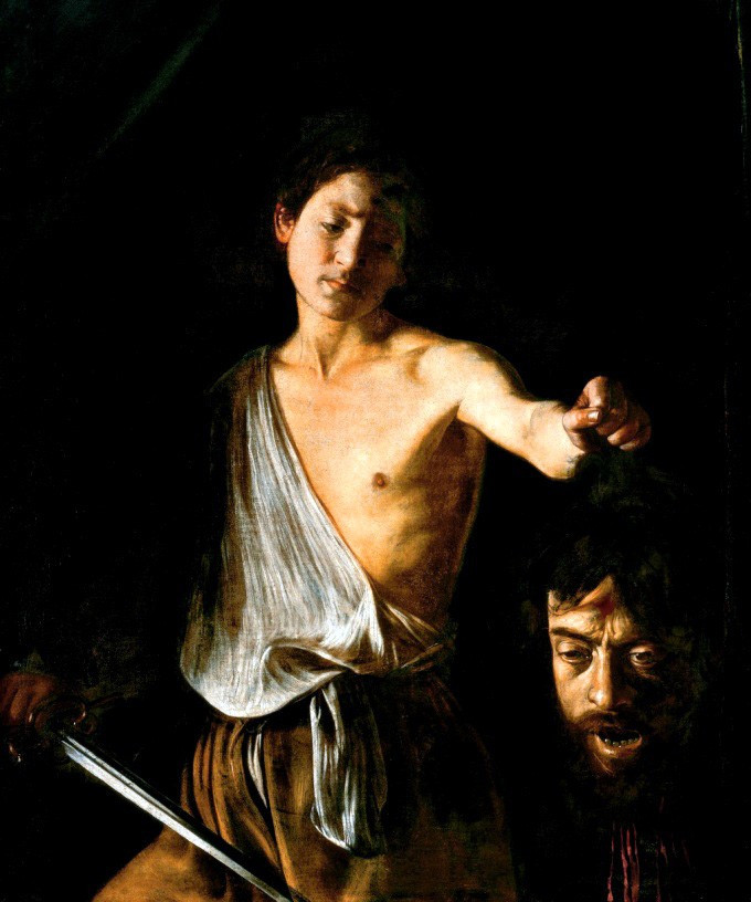 Caravaggio, David with the Head of Goliath, 1610 -- in the Borghese Gallery in Rome