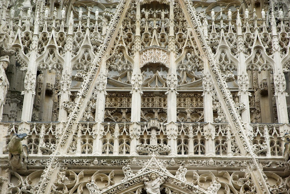 detail from the Flamboyant Gothic facade of Rouen's cathedral, the Notre-Dame cathedral
