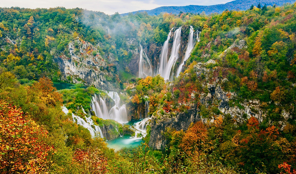 Veliki Falls in Plitvice Lakes National Park, one of Croatia's most popular destinations