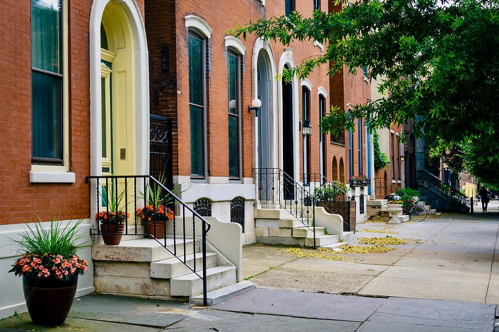 row houses in Philadelphia's tony Spring Garden neighborhood