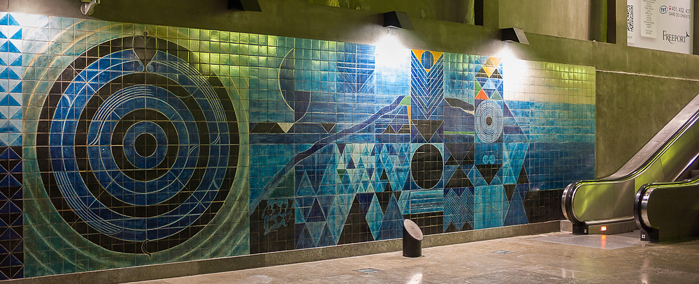 azulejo panels in the Oriente metro station in Lisbon