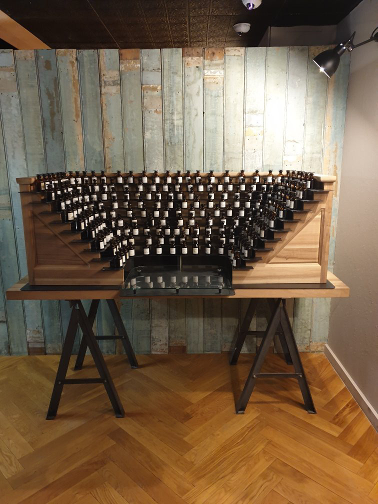 a perfume organ at the Fragonard Museum, an instrument in which the keys activate a different scent