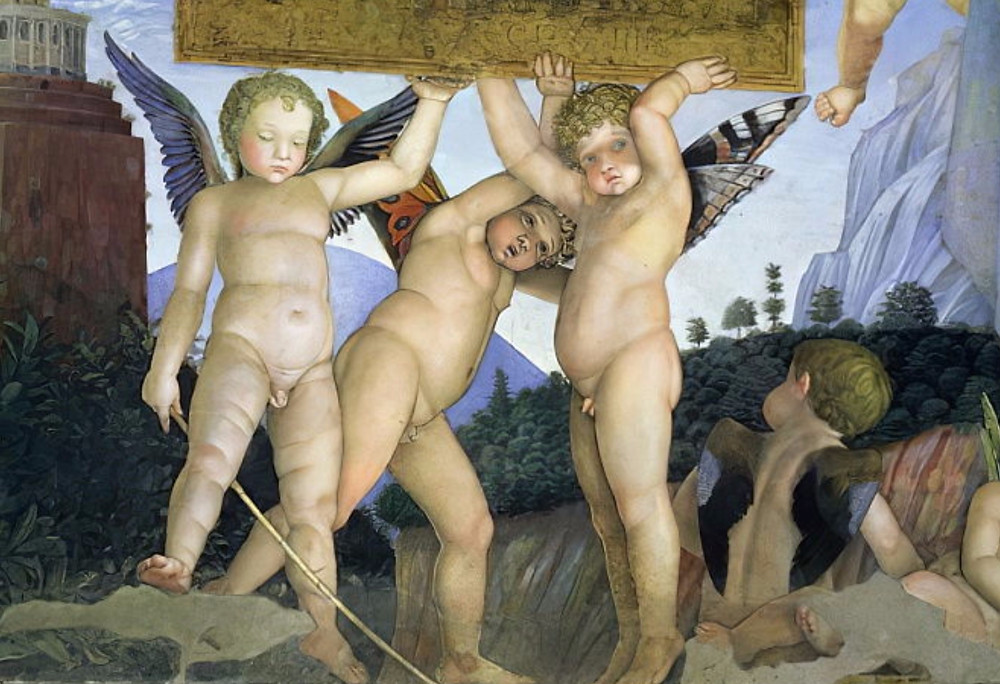 close up of the putti with butterfly wings in the Camera degli Sposi