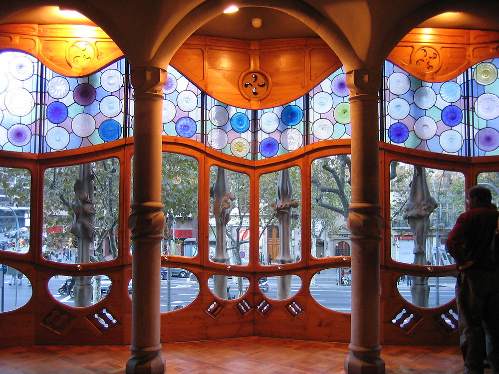 the most stunning feature of Casa battle, it's massive front window with  curves, bone-like pillars, and stained glass