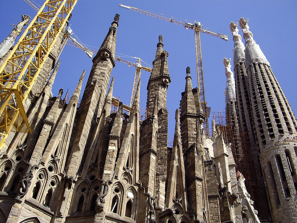 construction on the towers on the unfinished Sagrada Familia