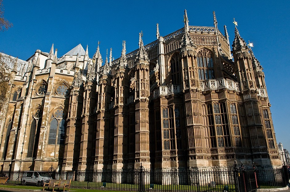 the facade of the Henry VII Chapel of Westminster Abbey in London