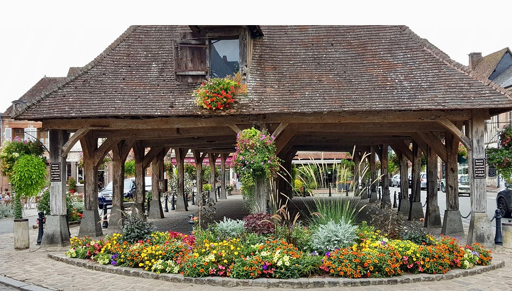 covered market in Lyons-la-Foret, a hidden gem in France