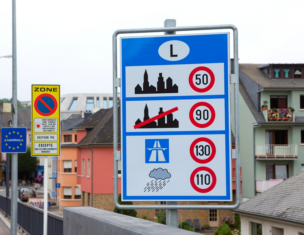 road sign in Europe