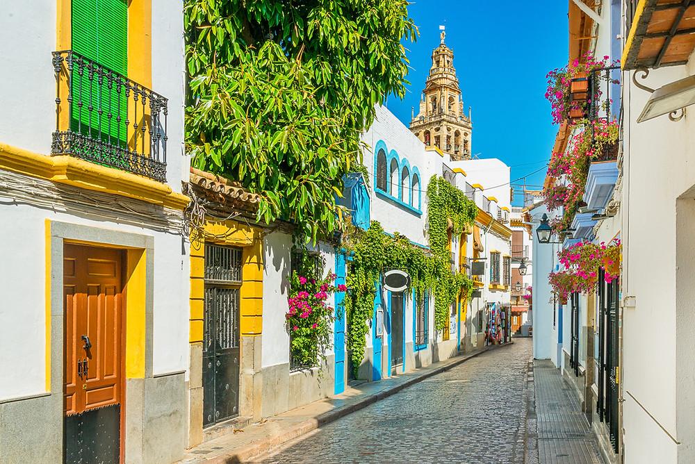 the colorful old Jewish Quarter in Cordoba