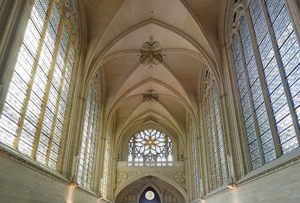 the nave and stained glass windows of the Sainte-Chapelle chapel of Chateau de Vincennes