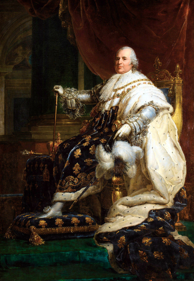 The Bourbon monarch Louis XVIII of France in Coronation Robes by Francois Gerard