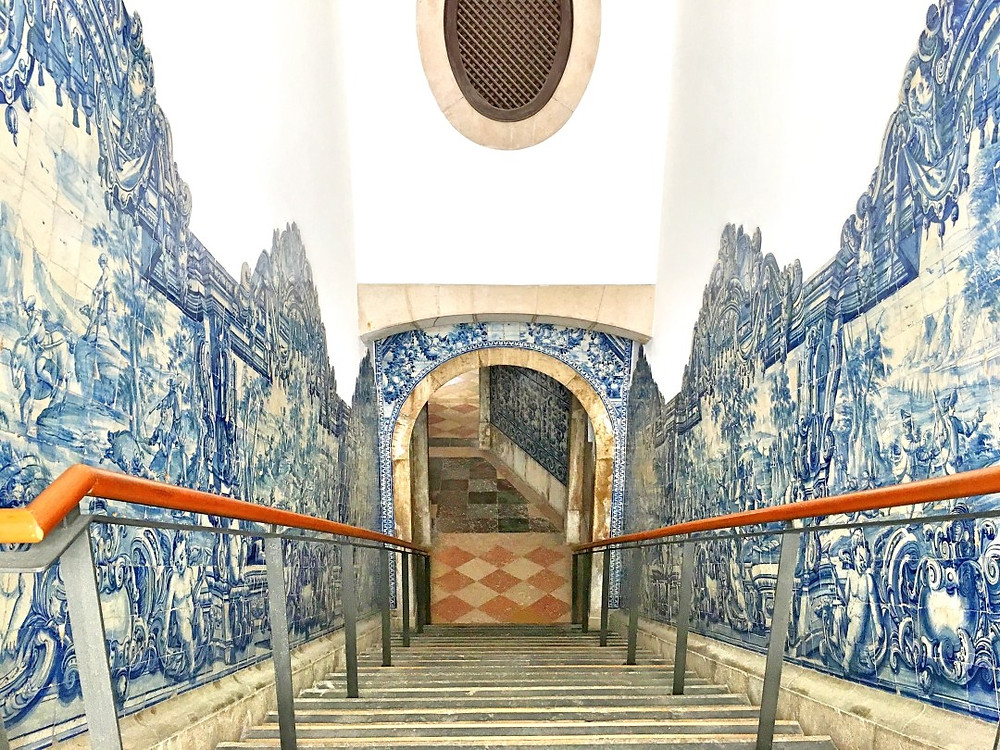 a gorgeous staircase in Lisbon's National Tile Museum
