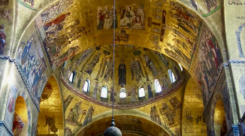 the glittering mosaic interior of St. Mark's Basilica