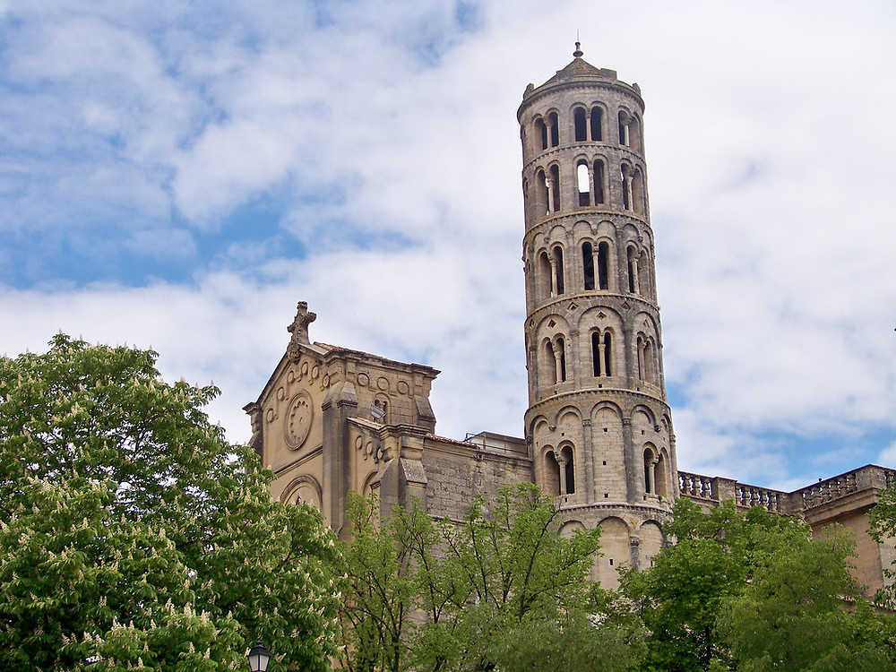 another view of the Cathédrale Saint-Théodorit and its Italianate bell tower, La Fenestrelle