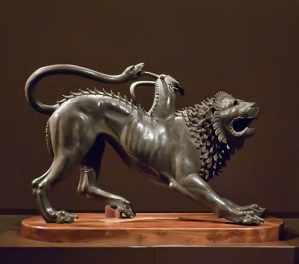 the Arezzo Chimera from the 4th century B.C.