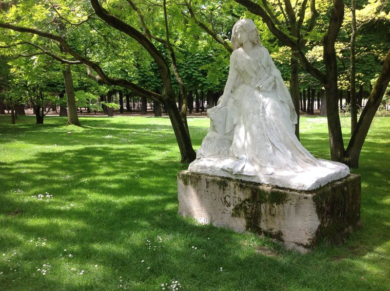 Sculpture of George Sand in Luxembourg Gardens in Paris